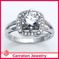 Carraton RSQD1058 High Quality CZ Diamond Splendid Big Genuine 925 Silver Engagement Ring