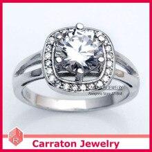 Carraton RSQD1058 Alta Calidad CZ Diamond Espléndida Grande Genuino 925 Anillo de Plata de Compromiso