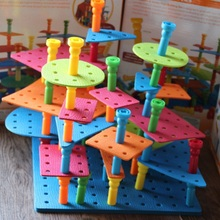 Fly AC intelligence stitching plastic small nail plate pull nails early education building blocks toy