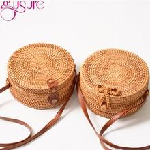 Gusure – Sac à Main circulaire en rotin tissé, Sac d'été fait-Main Bali plage, sacs à bandoulière avec nœud, bohème Ins populaire