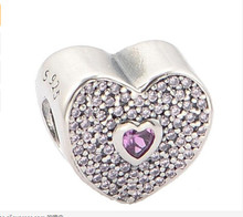Authentic 925 Sterling Silver paved pink heart zirconia charms european beads original Fit Bracelet(China)