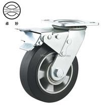 4 pcs New style 4 inch Aluminum Core Elastic Universal brake castor 100mm Top Plate Aluminium Core Rubber Caster Zn-plated