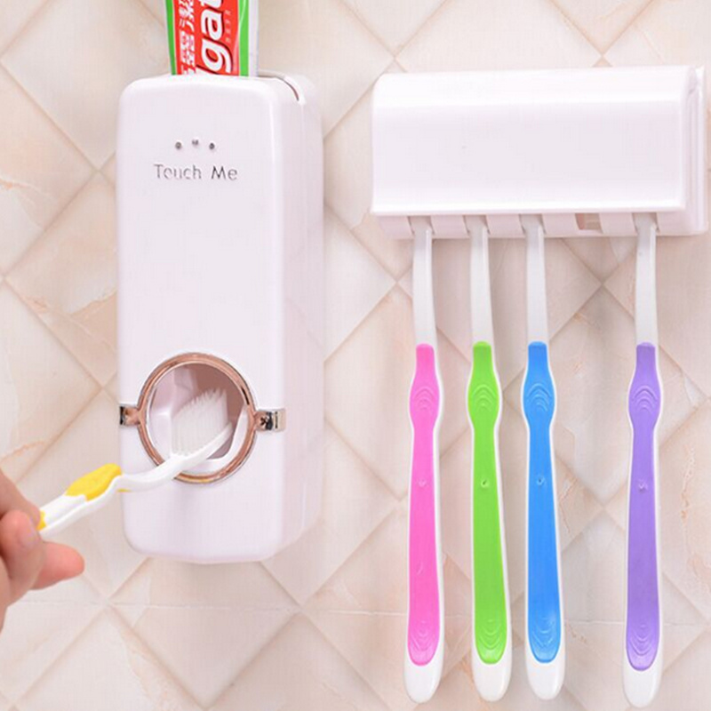 Creative lazy Automatic Toothpaste Dispenser with 5 Toothbrush Holder for bathroom set wall mounted tooth brush case