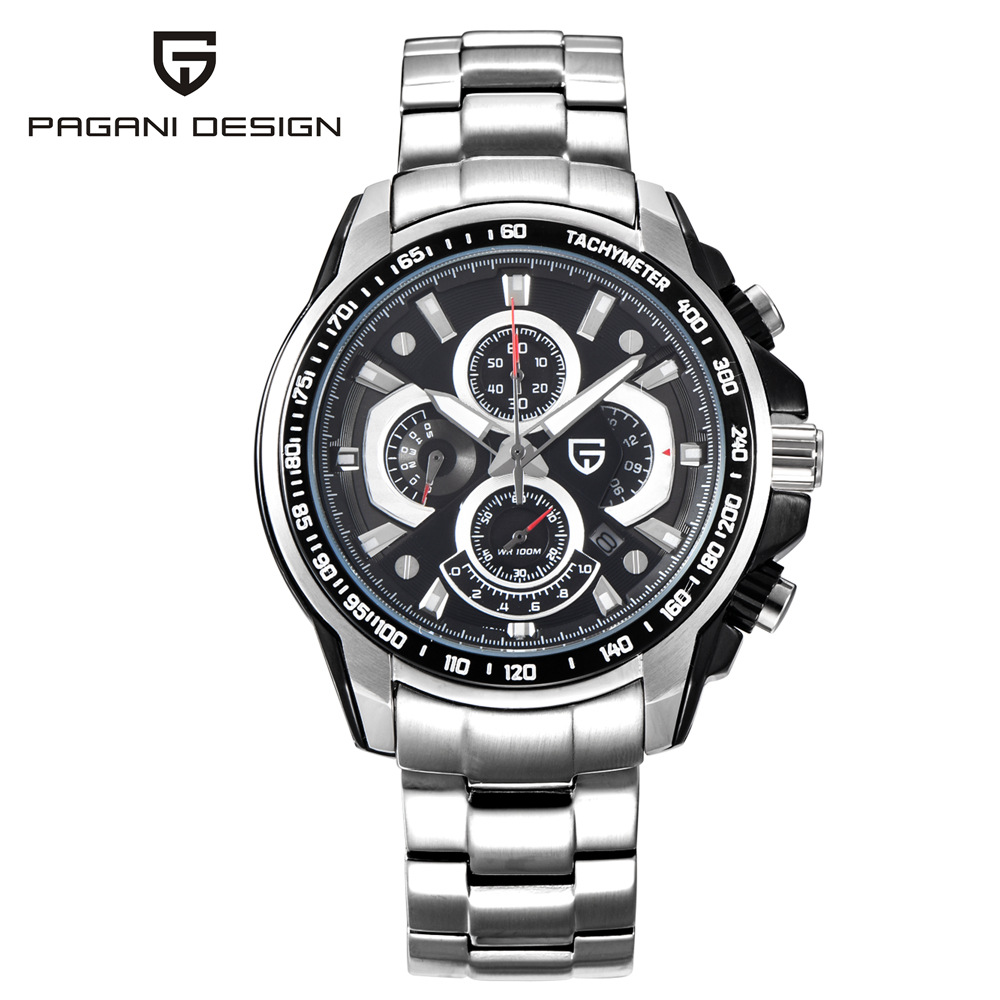 Pagani Men's stainless steel watches waterproof business clock reloj hombre watch relogio masculino quartz gift men wristwatches