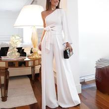 One-shoulder strap with flared sleeves Two-piece suit Tops + wide-leg pants 2019New Womens fashion sexy Nightclub female two-pi