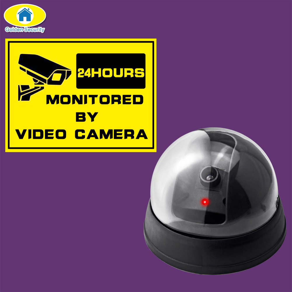 Golden Security Dummy Fake Camera Outdoor Indoor Fake Surveillance Camera Dome CCTV Security Camera With Flashing Red LED Light