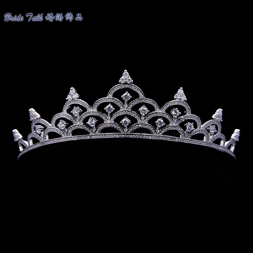 Crowns full circle round tiaras rhinestones crystal wedding bridal - Full Aaa Cz Tiara Clear Royal Crown Bridal Wedding Hair Jewelry Accessories Women Pageant Crown Tr15023