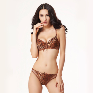 Image 4 - BALALOUM Sexy Women Leopard Print Lace Push Up Bra Panty Sets Brassiere Seamless T Back Thongs Underwear Lingerie Set Soft