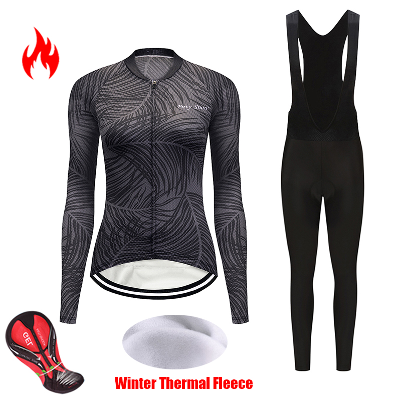 Cycling clothing winter womens set pro team thermal fleece bicycle jersey kit maillot uniform triathlon suit bike clothes outfit
