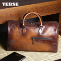 TERSE_Christmas gift handmade leather tote bag with engraving in tobacco handbag genuine leather duffel bag large capacity
