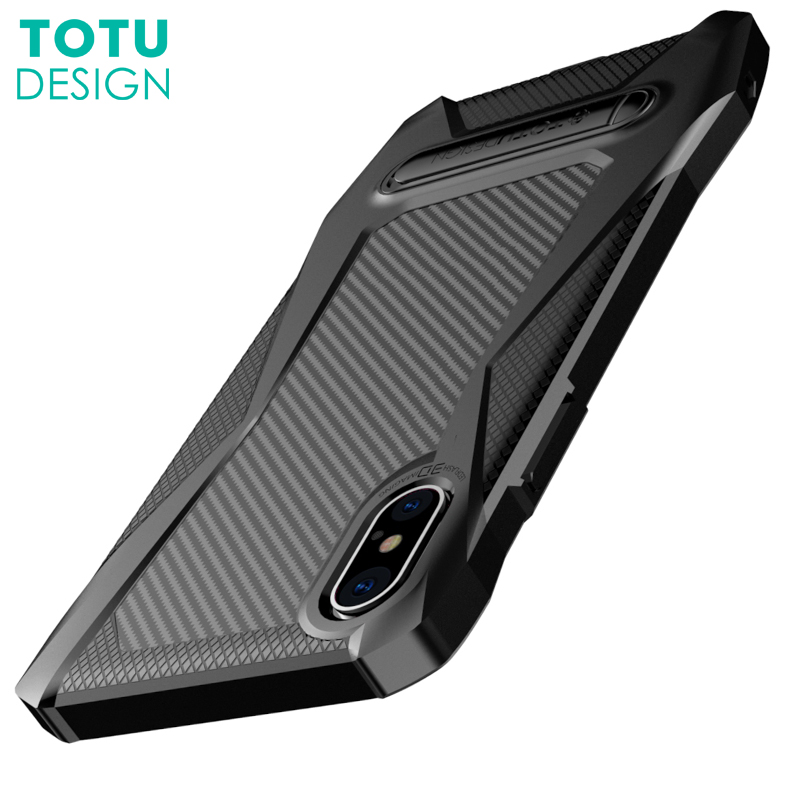 TOTU Shockproof Carbon Fiber Case For iPhone X 10 Coque Luxury TPU & PC Kickstand Shell Case Cover For iPhoneX Capinhas Fundas