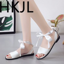 HKJL 2019 Sweet tied flat-soled casual Roman shoes New style female studentsKorean sandals for work in summer A406