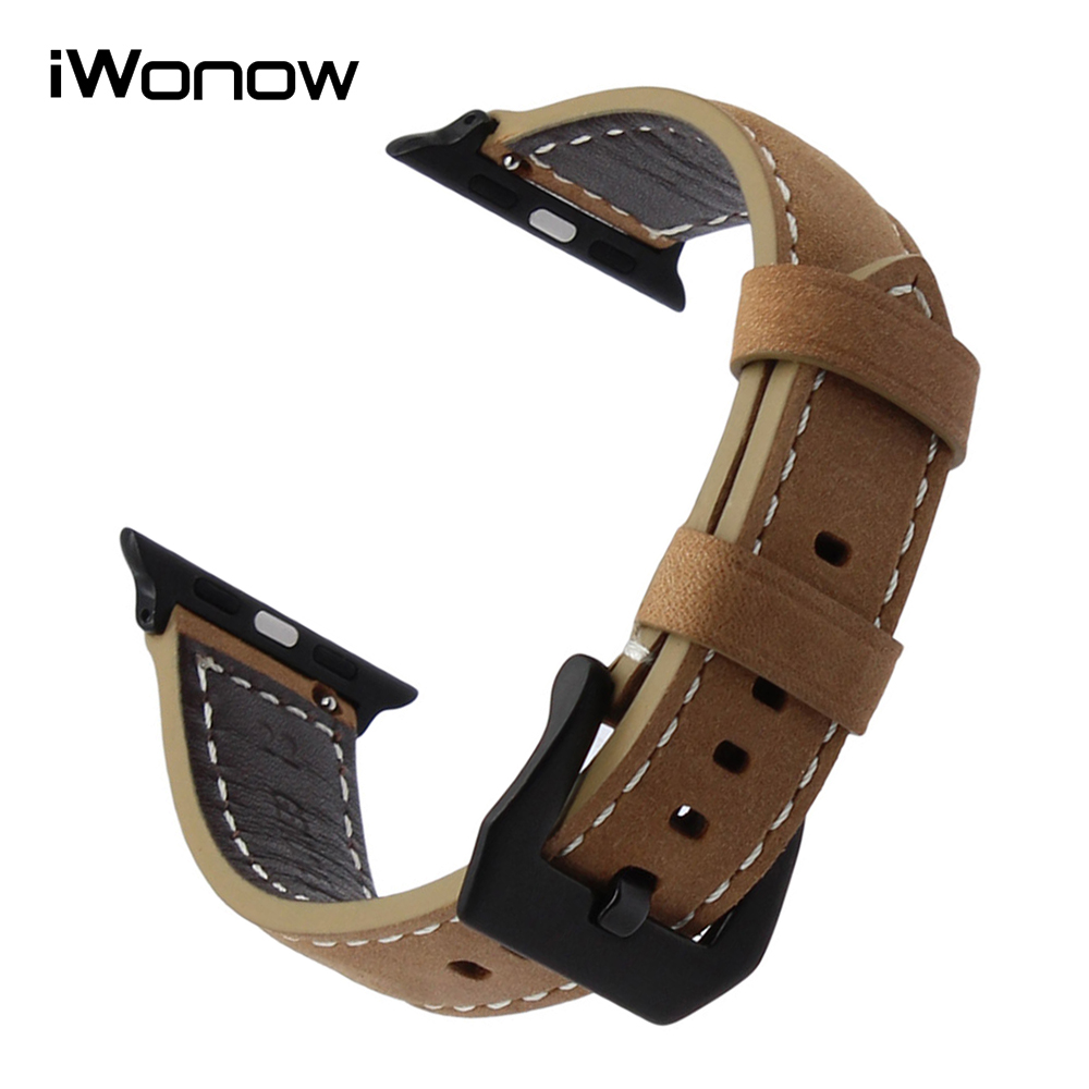 Italian Handmade Leather Watchband for iWatch Apple Watch 38mm 42mm Series 1 2 3 Wrist Band 316L Steel Buckle Strap Bracelet 6 colors luxury genuine leather watchband for apple watch sport iwatch 38mm 42mm watch wrist strap bracelect replacement