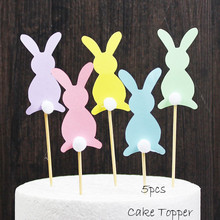 Omilut 5pcs Easter Bunny Cake Cupcake Toppers Picks Decorations for Birthday Party Rabbit Banner Supplies