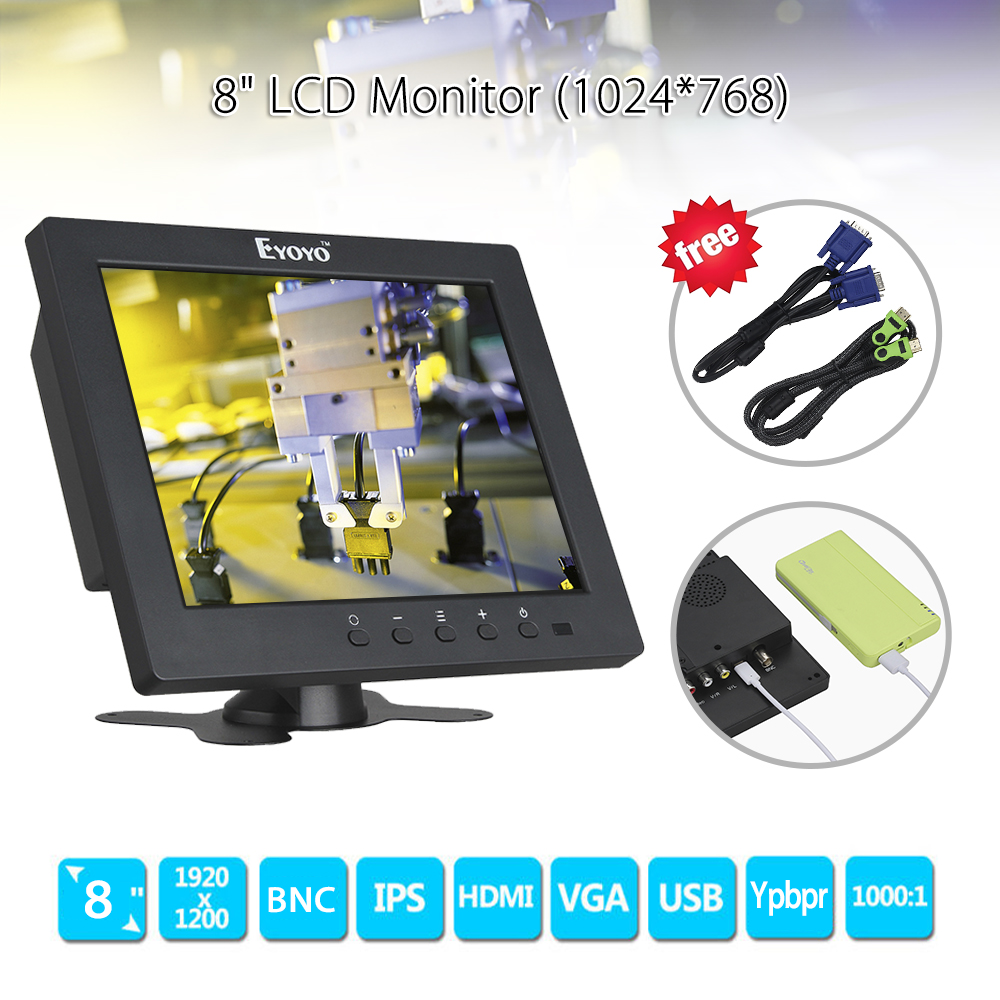 Eyoyo S801C 8 inch LCD HD Screen Security CCTV Monitor 1024x768 with VGA BNC AV HDMl Ypbpr Input Display for VCD DVD PC 11 6 inch metal shell lcd monitor open frame industrial monitor 1366 768 lcd monitor mount with av bnc vga hdmi usb interface