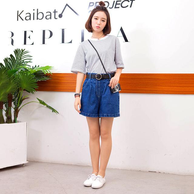 Calças de Brim curtas Mulheres Casuais Solta Cintura Alta Shorts Jeans Curto Denim Jeans Feminina Plus Size