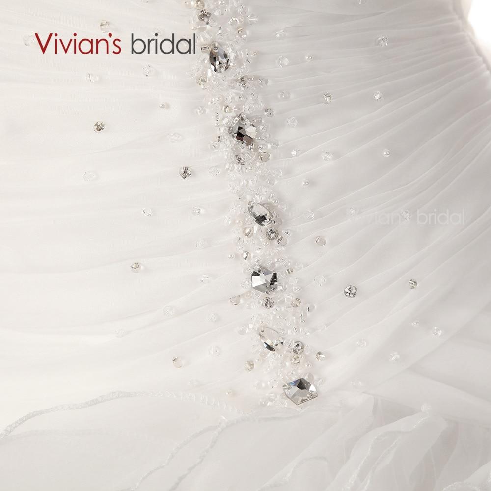 Vivian der Braut Backless Brautkleid Schatz Kristall Perlen Gaze ...