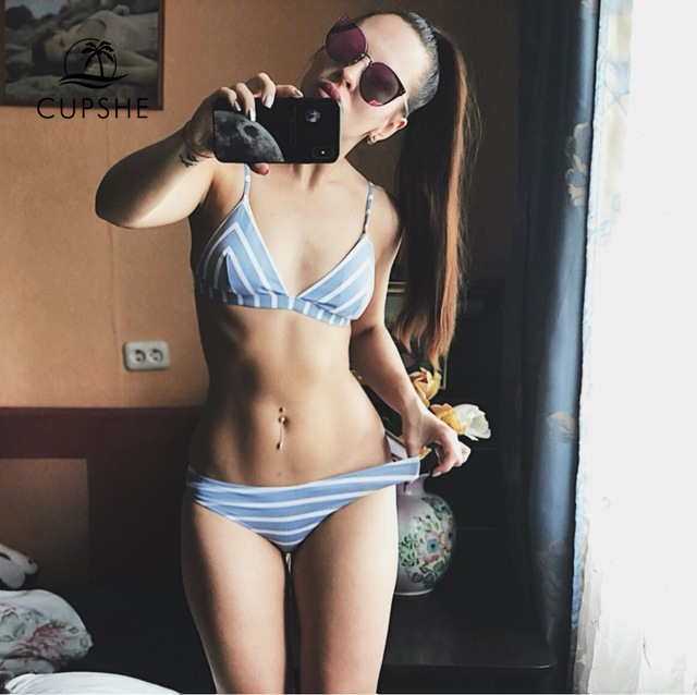 Cupshe Slim Sea Of Me Stripe Thong Bikini Set Women Summer Sexy Two Pieces Swimsuit 2018 Ladies Beach Bathing Suit swimwear