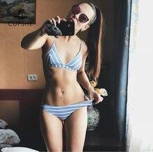 Cupshe font b Slim b font Sea Of Me Stripe Thong Bikini Set Women Summer Sexy