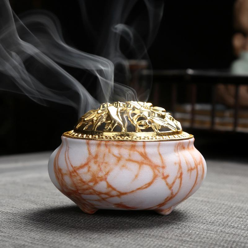 Portable Porcelain Censer Incense Sticks Holder Ceramic Incense Burners Aromatherapy Furnace With Base Use In Home Office House