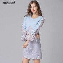 318e87b443c4 MUSENDA Plus Size Women Blu Rappezzatura Del Merletto Del Manicotto Del  Chiarore Vestito Nuovo 2018 Primavera Donna Ufficio Lady.