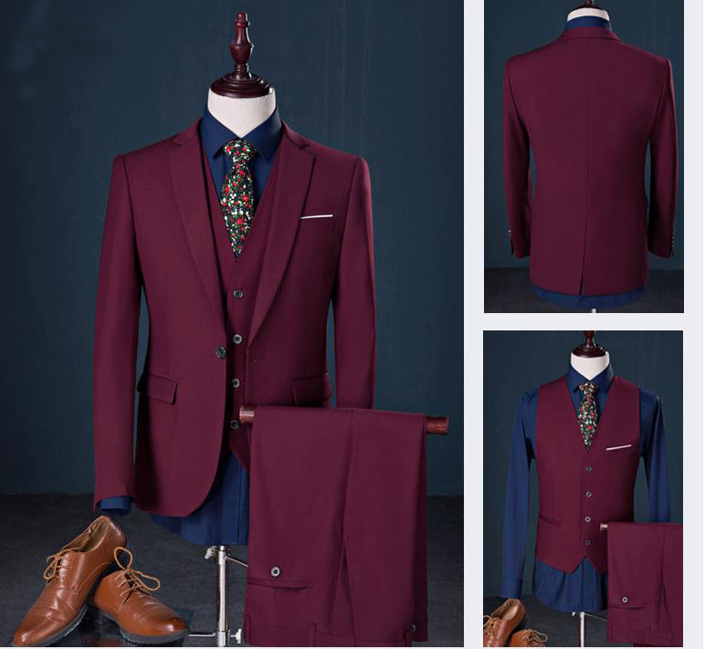 2018 Men's Suits Customize Slim Fit Groom Tuxedos Groom's Men Wedding Best Man Suit Men's Suits 3 Pieces Jacket+Pants+Vest