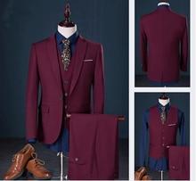 2018 Men's Suits Customize Slim Fit Groom Tuxedos Groom's men Wedding Best Man Suit Men's Suits 3 pieces Jacket+Pants+Vest цена