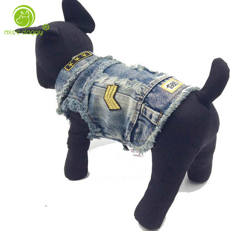 Factory Direct Sale Explosion Model Dog Clothes Cool Cowboy Vests Pet Clothes Spring and Autumn Dog Apparel Denim Jacket for Pet