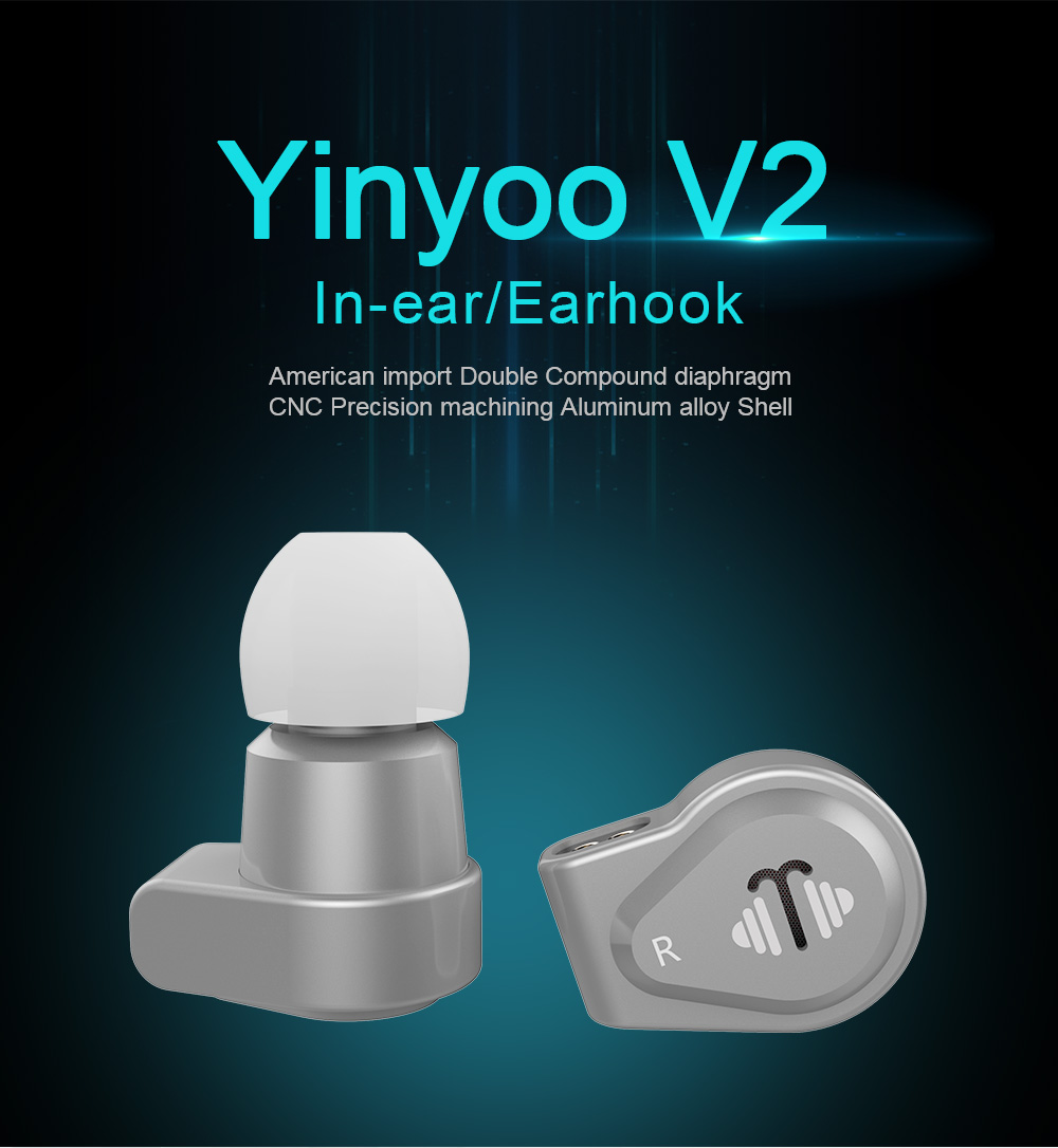 Yinyoo V2 Dual Compound Diaphragm Dynamic Earphone Hi Fi Stereo In Ear Metal Earbuds + 2pin 0.78mm Silver Plated Cable стоимость