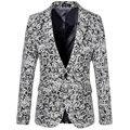 2015 New Arrival Homens Outono Inverno Lã Mescla Blazer Mens moda Preto Slim Fit Único Botão Floral Jaqueta Blazer Terno 6xl