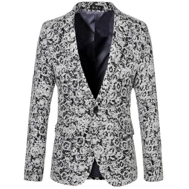 2015 Recién Llegado de Lana Mezcla Chaqueta Hombres Otoño Invierno Para Hombre moda Negro Slim Fit Solo Botón Floral Blazer Suit Jacket 6xl