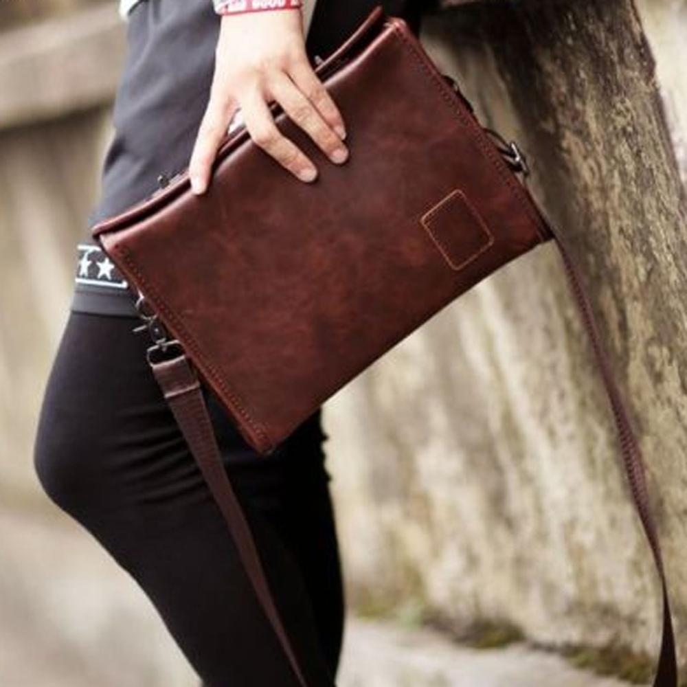 2018 Men Crazy Horse PU Leather Cross Body Messenger Shoulder Pack Clutch Bag Handbag Wallet Purse Portable Wrist Bag teemzone men s genuine leather shoulder messenger cross body satchel day fanny zipper waist pack handbag bag wallet s4001