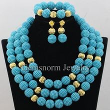 New Blue Green African Fashion Jewelry Set Plastic Pearl Beads Balls Costume Necklaces Set Wholesale Free Shipping WA396