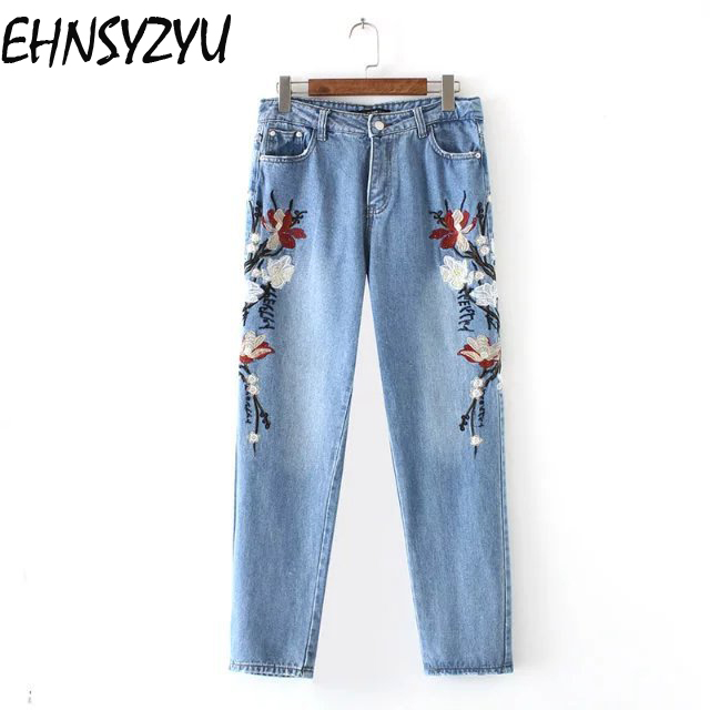 2017 Women's New Floral Embroidery Thin Jeans Women High Waist Casual Jeans Denim Pants Femme Flower Ripped Embroidered Jeans