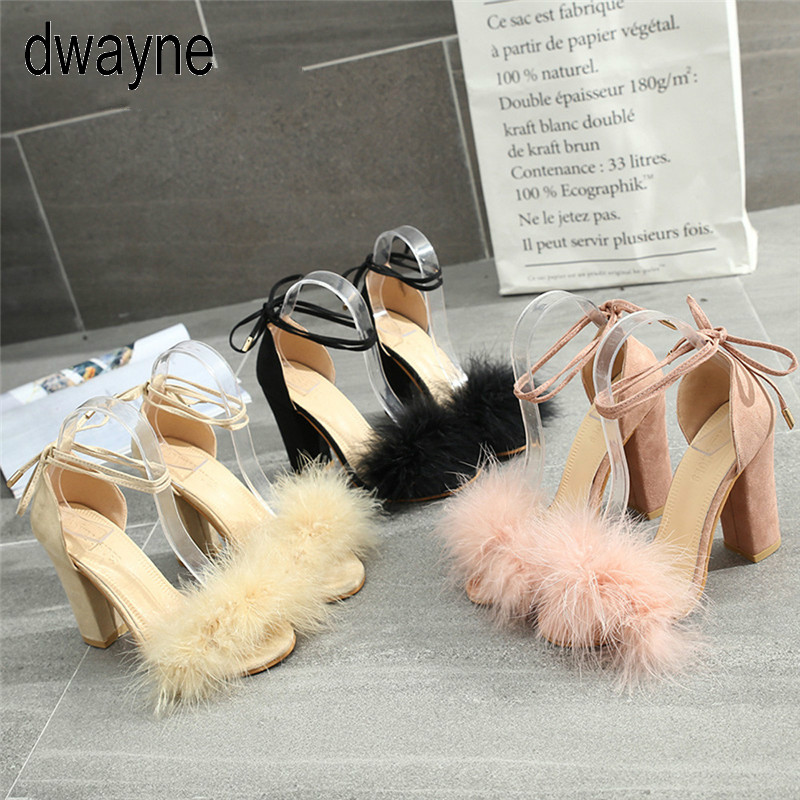 2019 Womens Fish Mouth High Heel Cross Straps Sandals Ankle Feather Party Shoes Red Bottom High Heels Io90