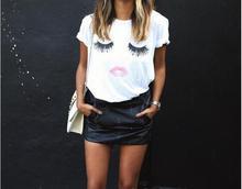 2019 summer new womens fashion eyelashes lips pattern printed short-sleeved t-shirts