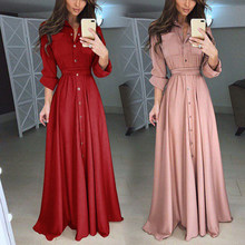 Women Long Sleeve Elegant Ruffles Long Maxi Formal Evening Party Shirt Dress Plus Size S/M/L/XL/XXL/3XL/4XL/5XL(China)