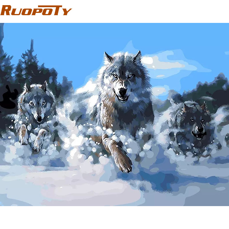 RUOPOTY Frame Abstract Painting Wolves Animals DIY Painting By Numbers Kits Coloring Acrylic Paint Unique Gift For Home Decor|abstract painting|diy painting|painting diy - title=