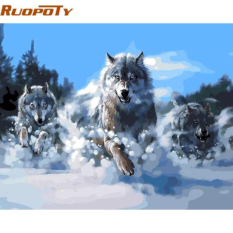 RUOPOTY pintura abstracta marco lobos animales DIY pintura por números Kits pintura acrílica regalo único para la decoración casera