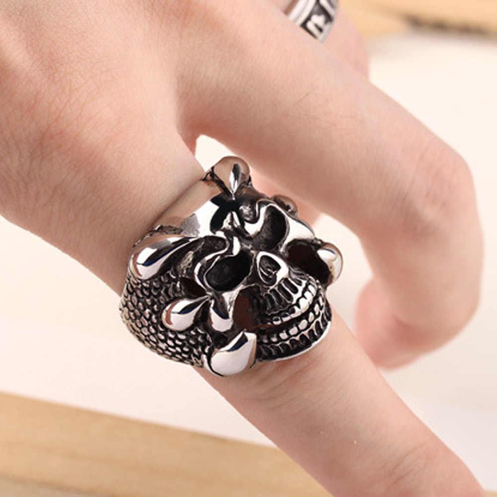 2017 nowy Punk Rock Mens Biker Rings Vintage Gothic szkielet biżuteria spersonalizowany pierścień prezent dla mężczyzn pierścienie czaszki