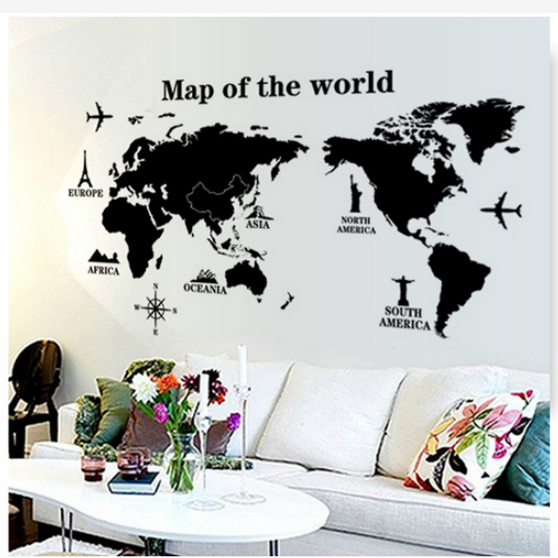 60cm X 90cm Wall Sticker World Map for House Living Room Decoration Decal Stickers Bedroom Decor Wall Stickers Wallpaper Mural image