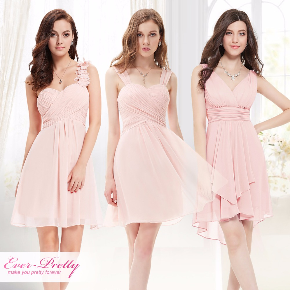 Pink Mini Bridesmaid Dresses Three Kinds One Shoulder Ever