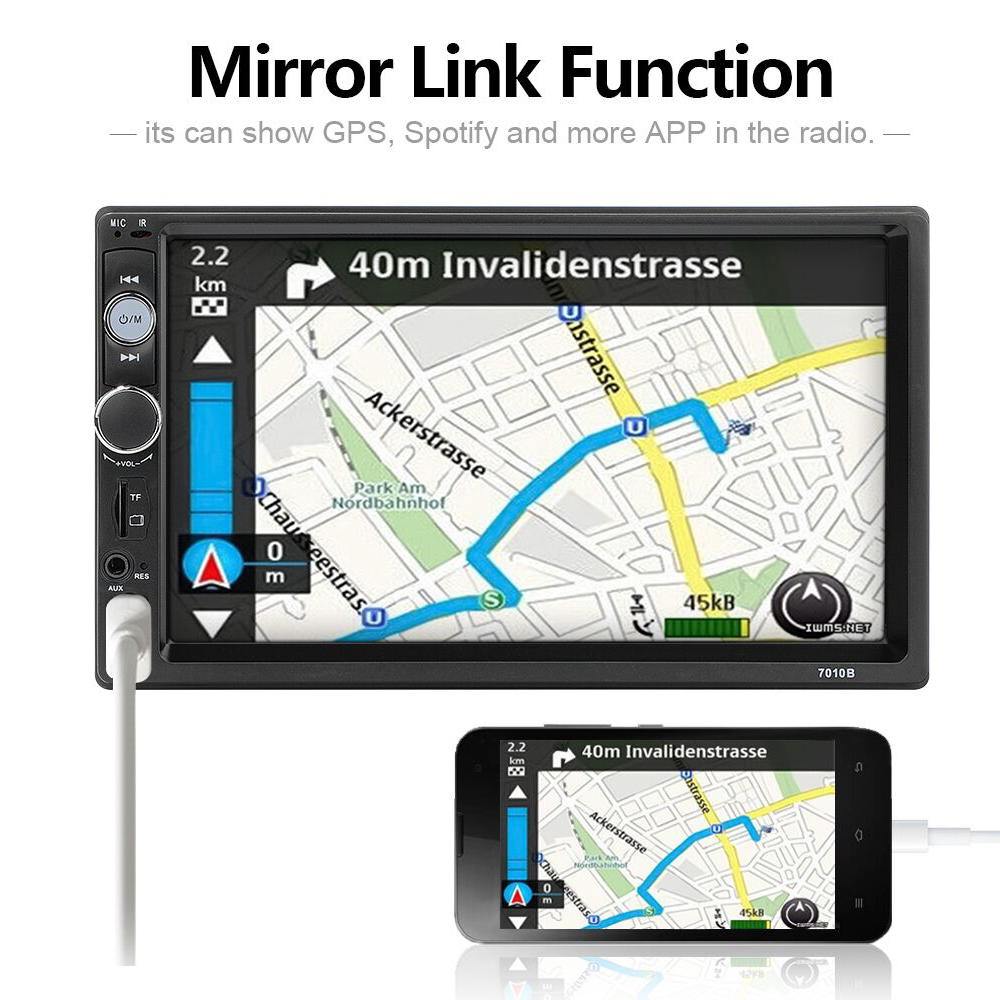 """Image 2 - AMPrime 2 din car radio 7"""" HD Player MP5 Touch Screen Digital Display Bluetooth Multimedia USB 2din Autoradio Car Backup Monitor-in Car Multimedia Player from Automobiles & Motorcycles"""