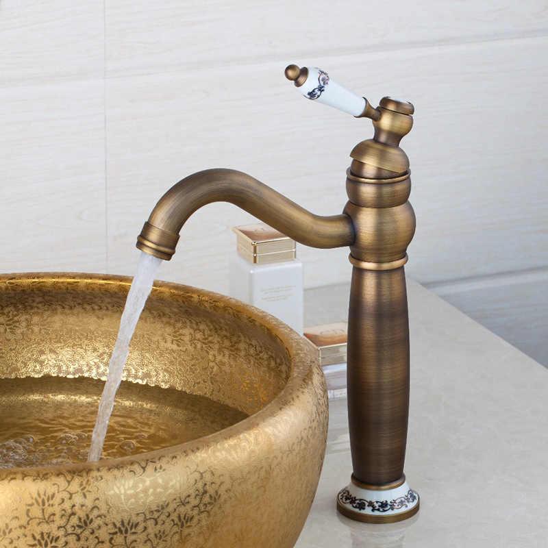 Retro banheiro mixer rosa ouro polido bronze antigo bacia sink bica giratória cerâmica torneira misturadora