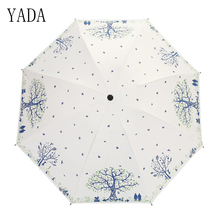 YADA Lovers Under The Tree Folding Umbrella Rain Women uv Black Coating High Quality Brand Windproof Umbrellas YS085
