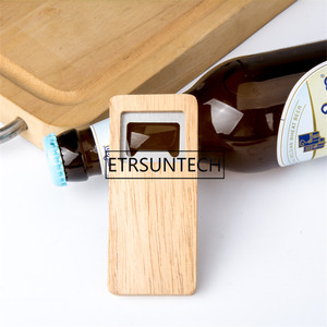 Image 5 - 10pcs Wood Beer Bottle Opener Wooden Handle Corkscrew Stainless Steel Square Openers Bar Kitchen Accessories Party Gift