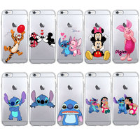 Cute Stitch Pooh Piglet Mickey Minnie Kiss Gift Phone Case For huawei P8 P9 lite P10 lite Soft TPU Silicone Case For mate10 lite