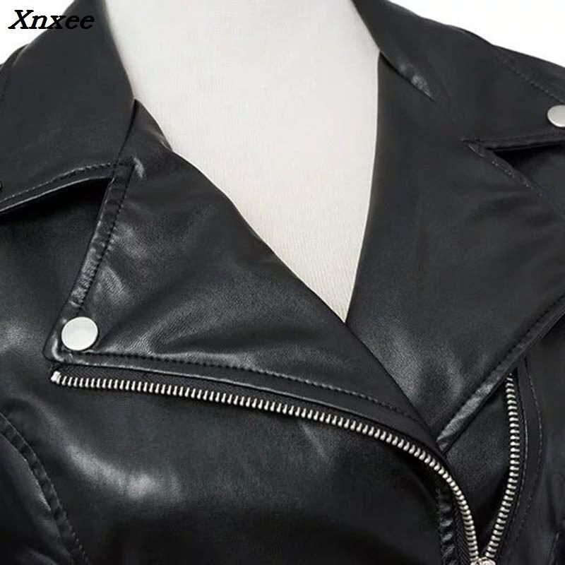 Winter woman coat 2018 Slim Pu leather female turn down collar jacket short zip fuax women 39 s leather jackets leather women Xnxee in Leather Jackets from Women 39 s Clothing