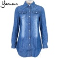 New 2017 medium-long slim shirt Dark Blue turn-down collar wash long-sleeve denim shirt for women 3XL Free shipping B-2025
