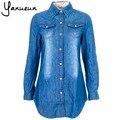 Nuevo 2017 medio-largo camisa delgada Azul Oscuro da vuelta-abajo de lavado camisa vaquera de manga larga para mujeres 3XL Envío gratis B-2025